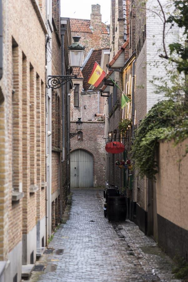 Typiska byggnader och lappad gränd i Bruges royaltyfria foton