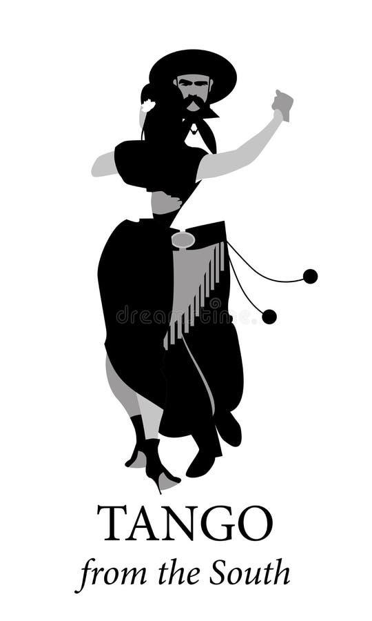 Typiska par från Sydamerika danstango vektor illustrationer