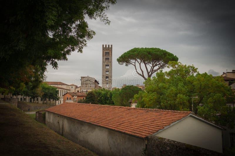 Typiska röda roofes med stenen sörjer och den San Frediano kyrkaklockstapeln på bakgrund Karaktärsteckningeffekt Lucca italy royaltyfri bild