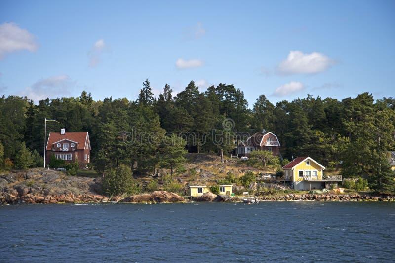 Typiska svenskferiehem fotografering för bildbyråer