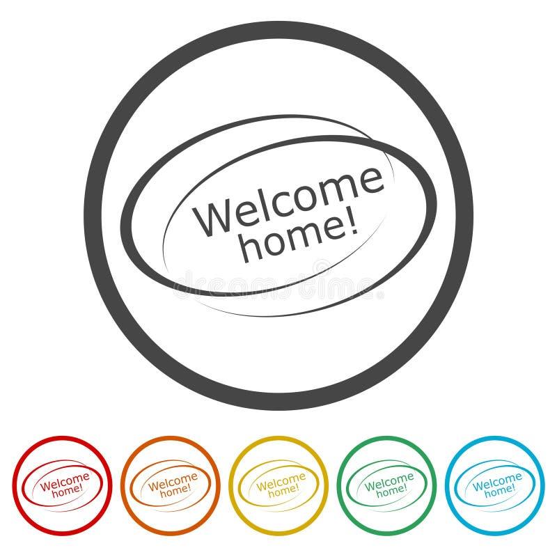 """Typo inspiré et de motivation """"maison bienvenue """" illustration stock"""