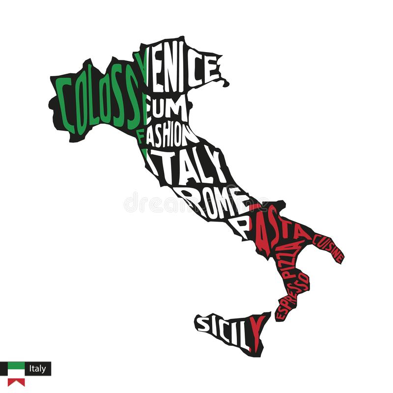 Typografiöversiktskontur av Italien i svart- och flaggafärger royaltyfri illustrationer