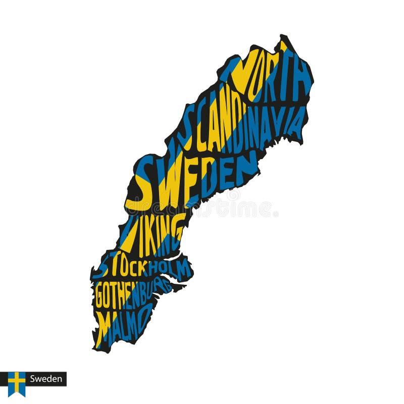 Typografiöversiktskontur av Sverige i svart- och flaggafärger royaltyfri illustrationer