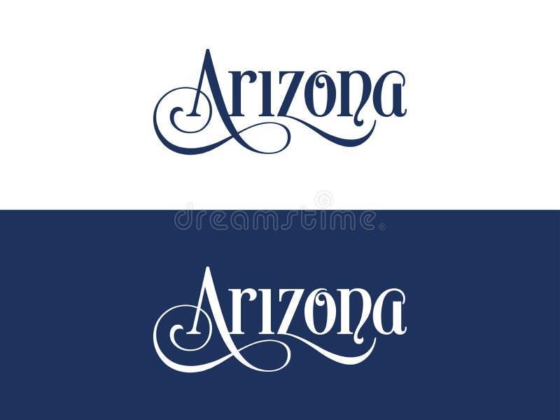 Typografi av USA Arizona påstår den handskrivna illustrationen på representant U S Tillståndsfärger vektor illustrationer