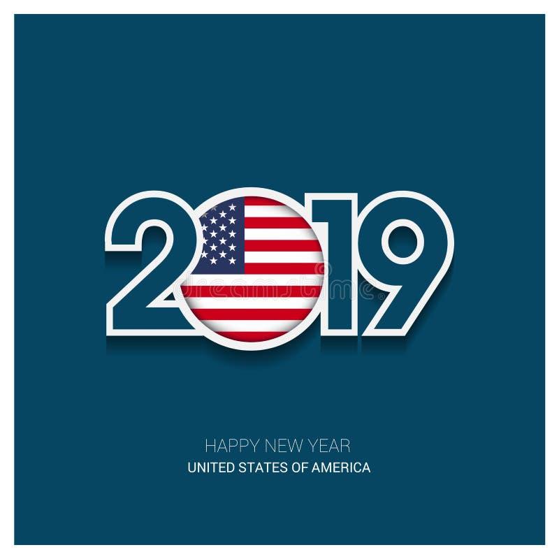 Typografi för 2019 Amerikas förenta stater, lyckligt nytt år Backgro royaltyfri illustrationer