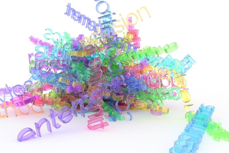 Typografi för bakgrundsabstrakt begreppCGI, grupp av affärsordet för informationsöverbelastning som är bra för design vektor illustrationer