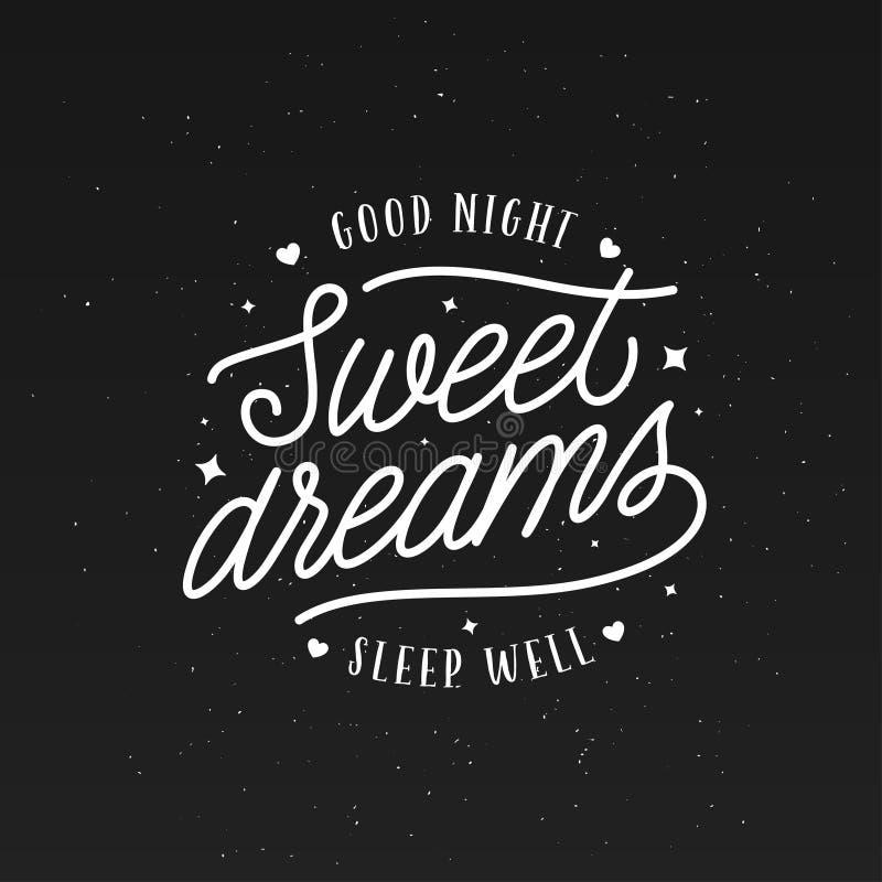 Typografi för bra natt för söta drömmar Vektortappningillustration stock illustrationer
