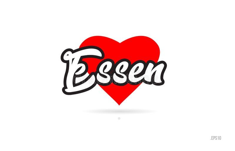 typografi för essen stadsdesign med röd hjärtasymbolslogo royaltyfri illustrationer