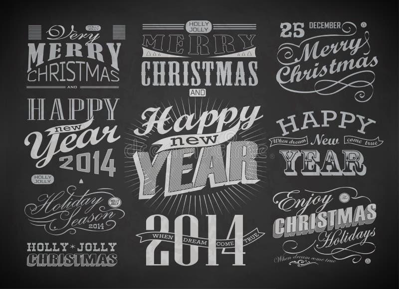 Typografi för jul och för lyckligt nytt år stock illustrationer