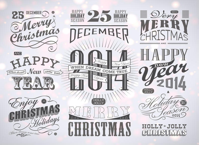 Typografi för jul och för lyckligt nytt år royaltyfri illustrationer