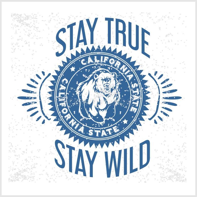 Typografi för Kalifornien republiktappning med en grisslybjörn royaltyfri illustrationer