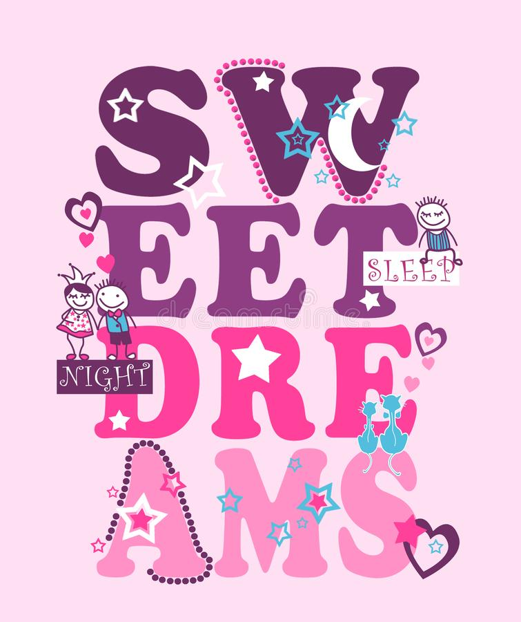 Typografi för söta drömmar, unget-skjorta tryck royaltyfri illustrationer