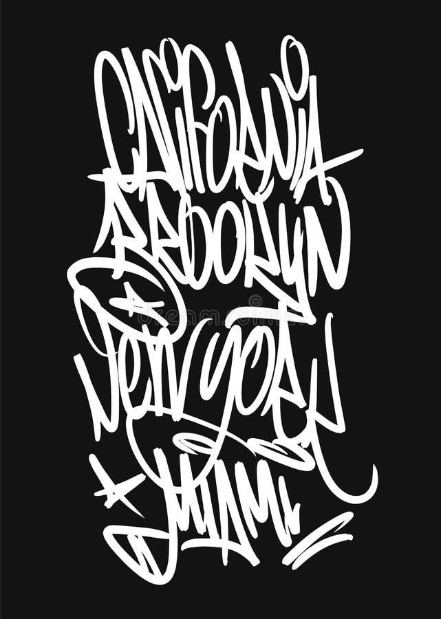 Typografi för slogan för Kalifornien Brooklyn mjauYork Miami grafitti, t-skjorta diagram stock illustrationer