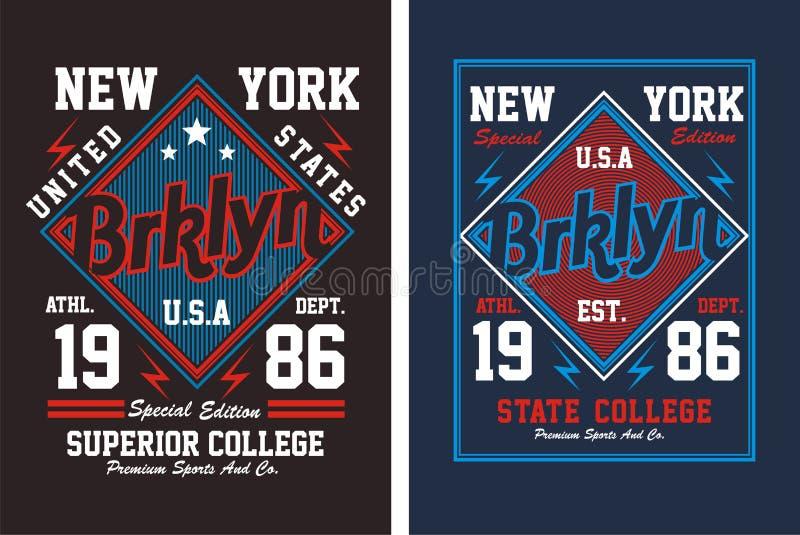 02 typografi New York City, vektor stock illustrationer