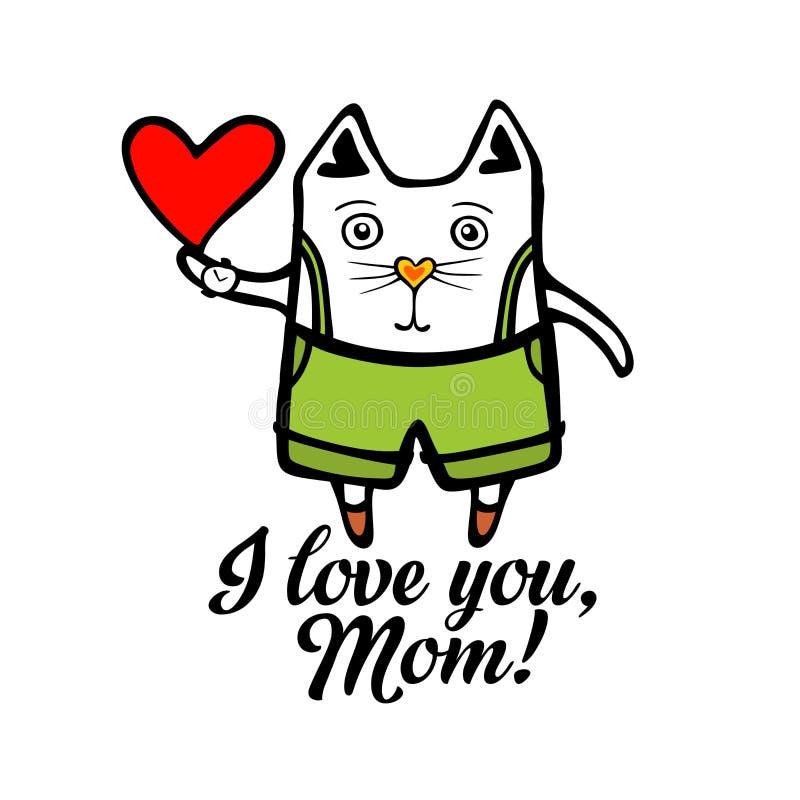 Typografi och bokstäver med designbeståndsdelar kisse Jag älskar dig, mamma! vektor illustrationer