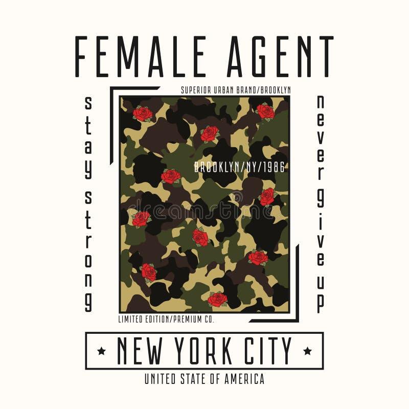 Typografia dla dziewczyny koszulki z sloganem - żeńska agenta i kamuflażu tekstura Nowy Jork mody grafika z róża kwiatem ilustracji