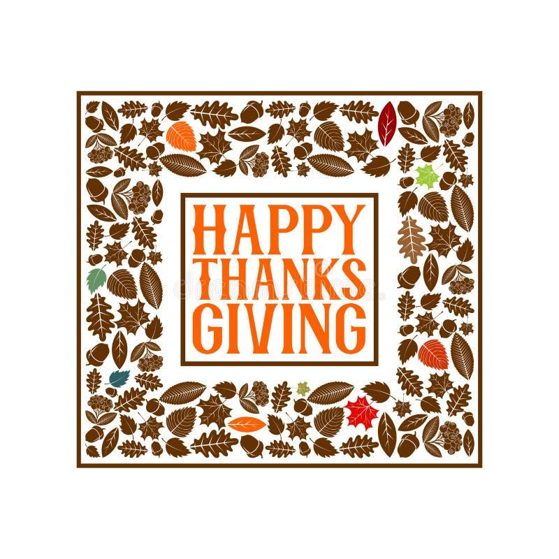 Typografia dziękczynienie Pięknie dekorujący wakacyjny tekst z jesień elementami ilustracji