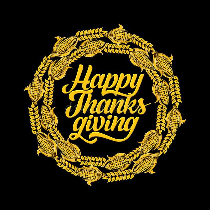 Typografia dziękczynienie Pięknie dekorujący wakacyjny tekst z jesień elementami ilustracja wektor