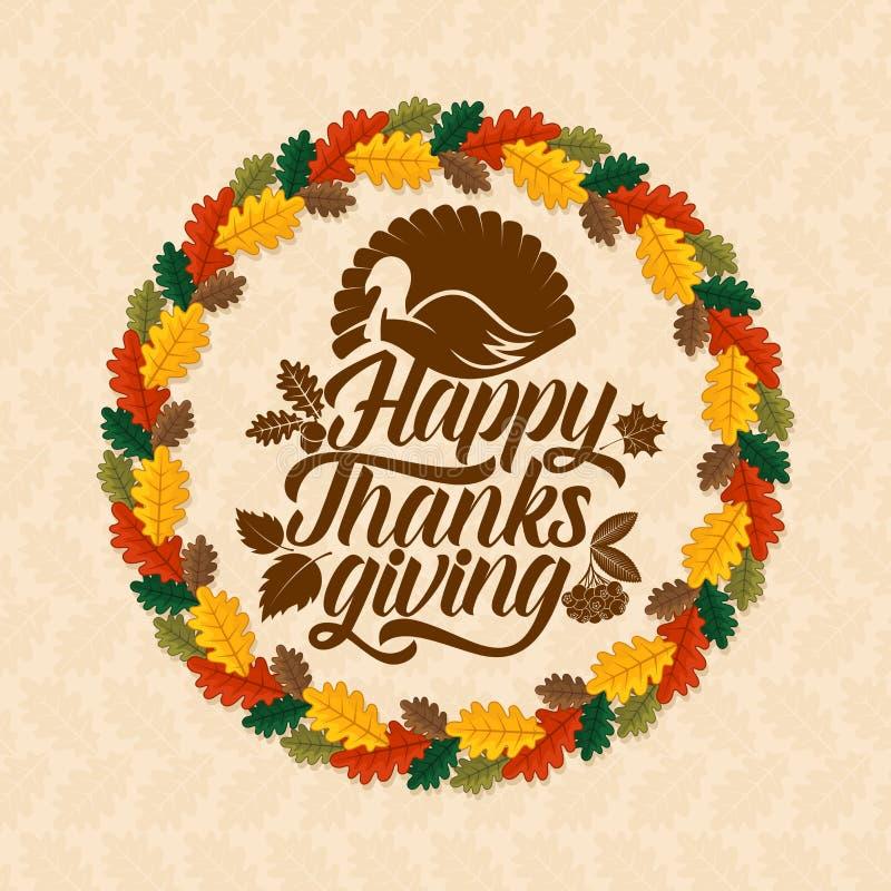 Typografia dziękczynienie Pięknie dekorujący wakacyjny tekst z jesień elementami royalty ilustracja