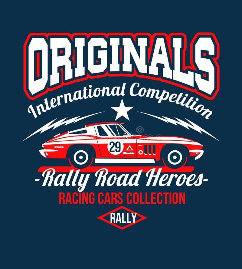 Typografia projekta klasyka wiecu Samochodowej rasy retro koszulki cool projekta druku ilustrację Żużli królewiątka Samochód jest royalty ilustracja