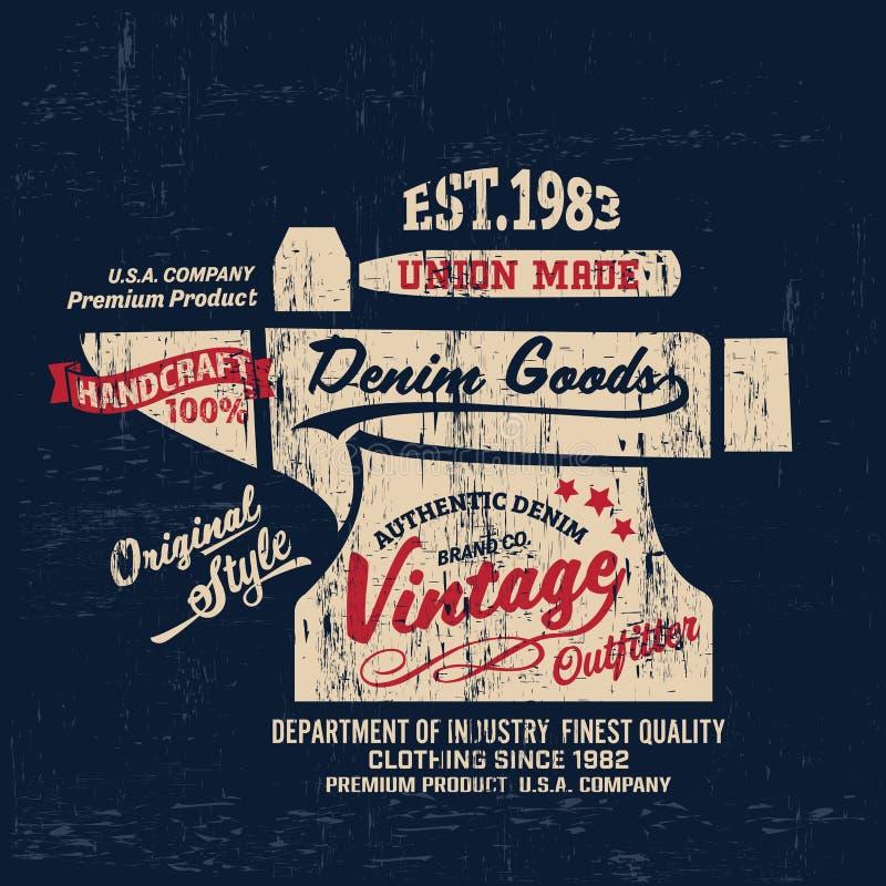 Typografia rocznika stroju gatunku loga drelichowy druk dla koszulki Retro grafiki ilustracja royalty ilustracja