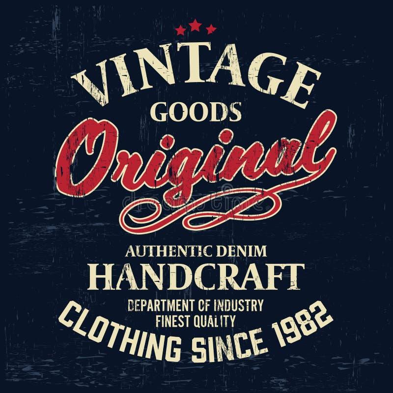 Typografia rocznika stroju gatunku loga druk dla koszulki ilustracja retro royalty ilustracja