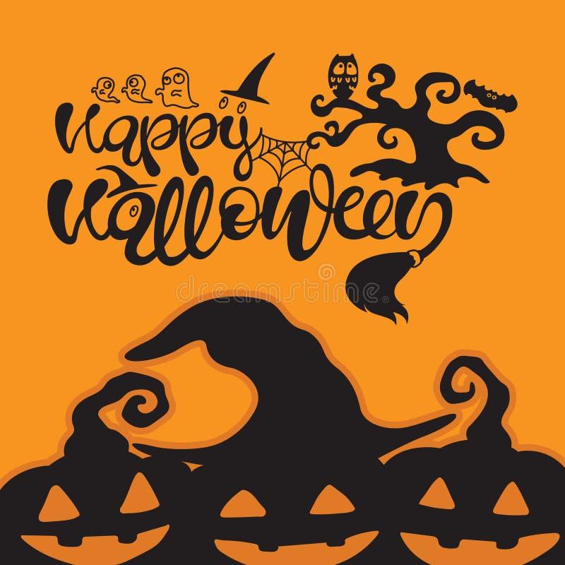 typografia wektoru ilustracja Szczęśliwy Halloweenowy tekst z pajęczyną, duchem, sową, nietoperzem, drzewem i banią, ilustracja wektor