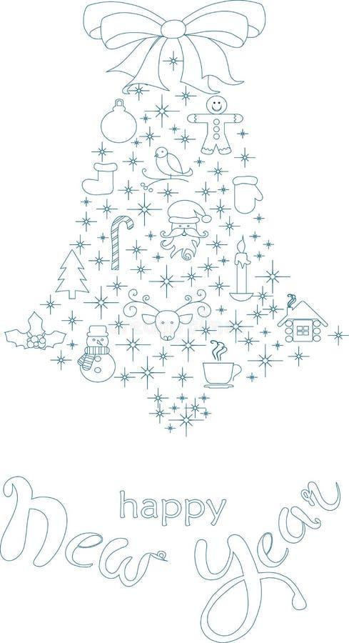 Typografibanret med stiliserade blått sätter en klocka på och räcker teckningen som märker lyckligt nytt år på vit stock illustrationer