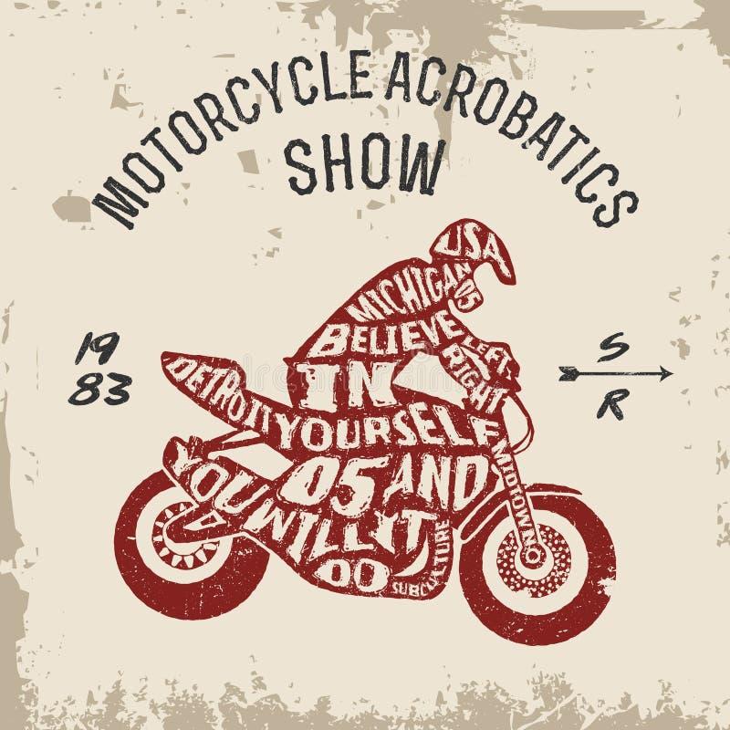 Typografibokstävermotorcyklist vektor illustrationer