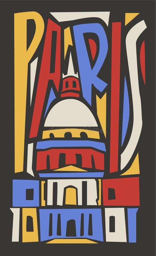 Typograficzna turystyczna ręka rysujący Paris miasto royalty ilustracja
