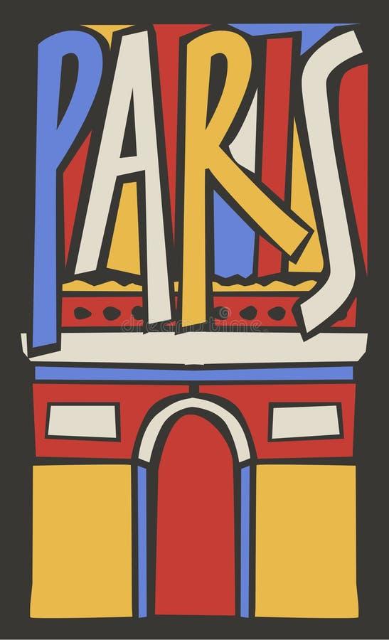 Typograficzna turystyczna ręka rysujący Paris miasto ilustracji