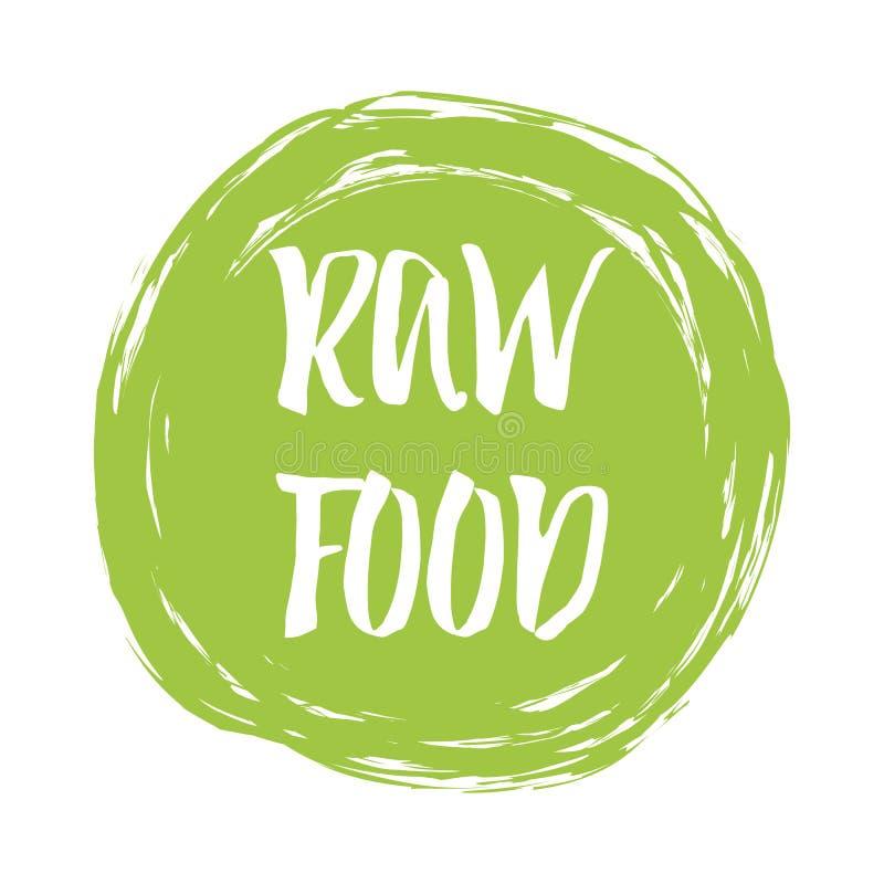 Typograficznego literowanie znaka Surowy jedzenie w zielonego punkt dla loga, etykietka, odznaka, majcher royalty ilustracja