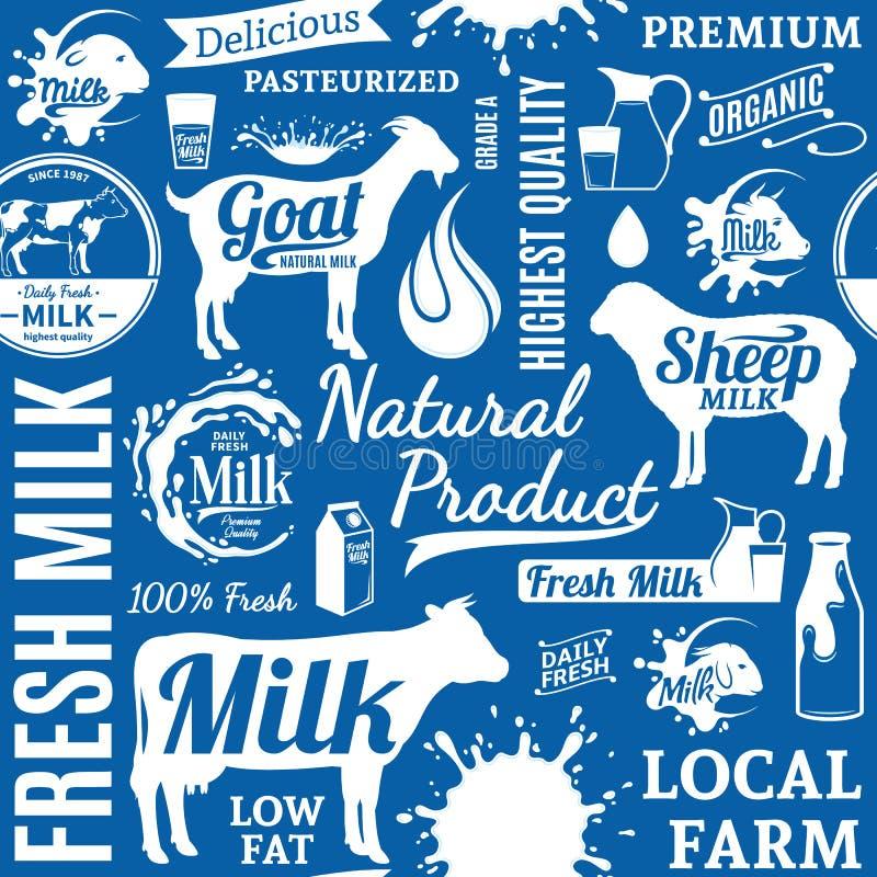 Typograficznego wektoru mleka bezszwowy wzór lub tło ilustracja wektor