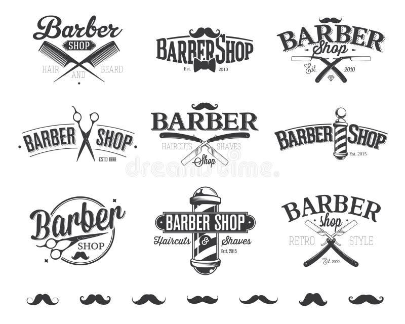 Typograficzni fryzjera męskiego sklepu emblematy ilustracja wektor