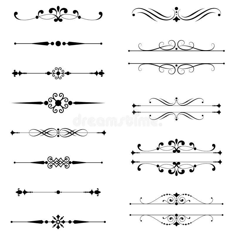 Typograficzni ornamenty & reguł linie royalty ilustracja