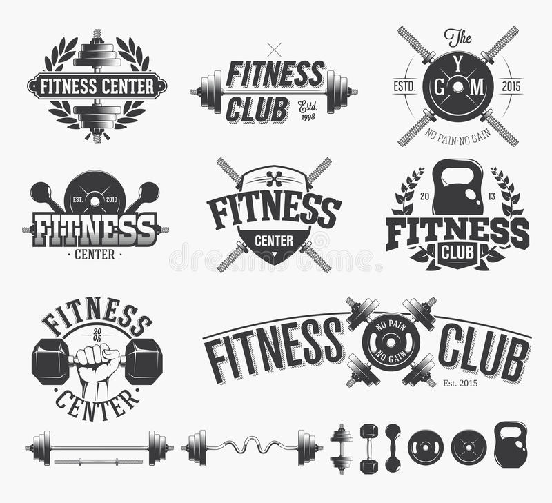Typograficzni sprawność fizyczna emblematy royalty ilustracja