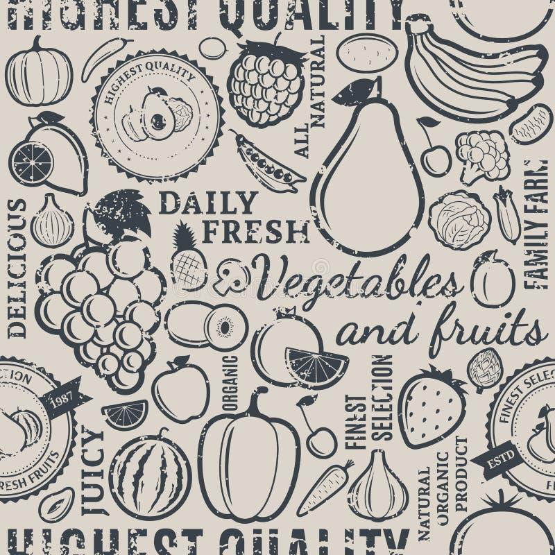 Typograficzni wektorowi owoc i warzywo retro projektujący bezszwowy p ilustracja wektor