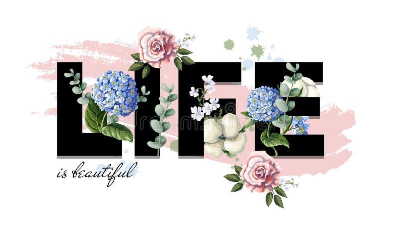 Typograficzny druk dla koszulki z kwiatami i sloganem również zwrócić corel ilustracji wektora ilustracja wektor