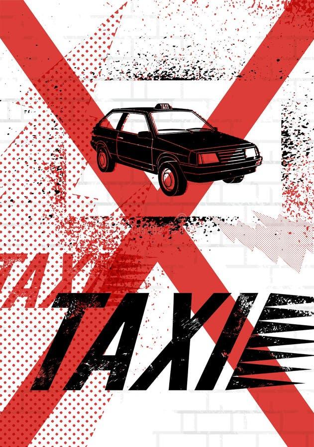 Typograficzny graffiti taxi plakat Grunge wektorowa ilustracja royalty ilustracja