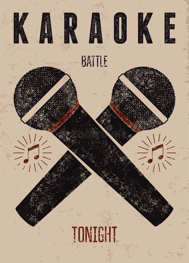 Typograficzny retro grunge karaoke plakat również zwrócić corel ilustracji wektora ilustracji