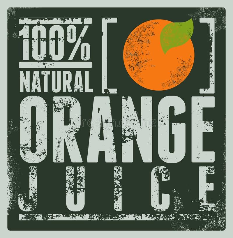Typograficzny retro grunge soku pomarańczowego plakat również zwrócić corel ilustracji wektora ilustracja wektor