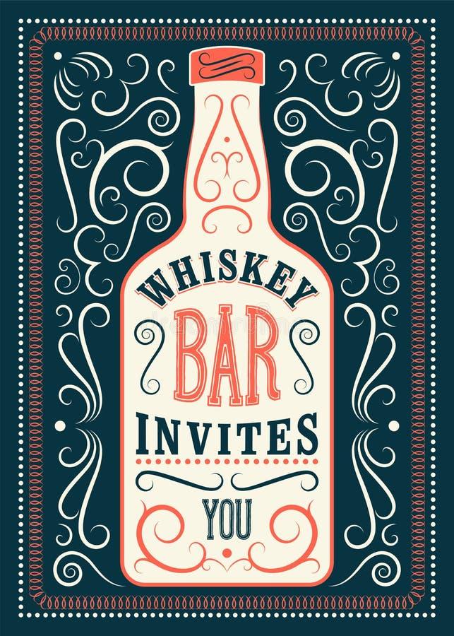 Typograficzny retro projekta whisky baru plakat Rocznik etykietka z stylizowaną whisky butelką również zwrócić corel ilustracji w ilustracja wektor