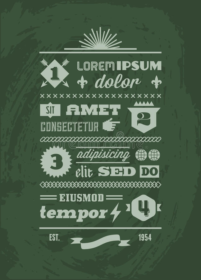 Typograficzny typograficzny royalty ilustracja