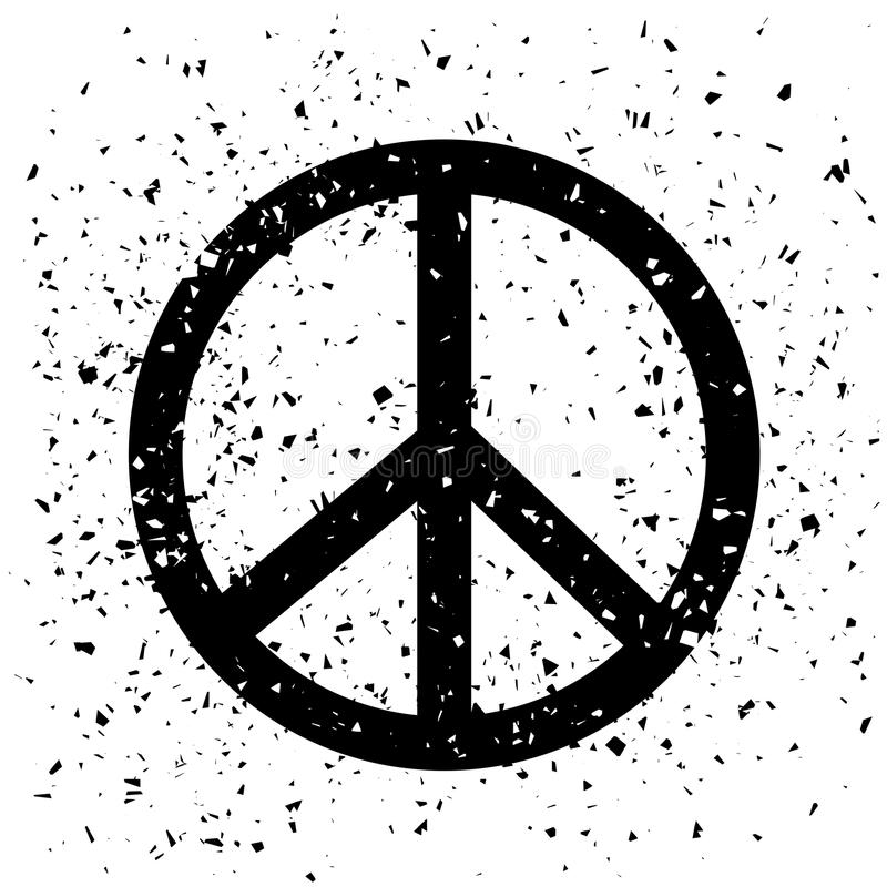 Typografidesign av trycket med det pacifistiska tecknet vektor illustrationer