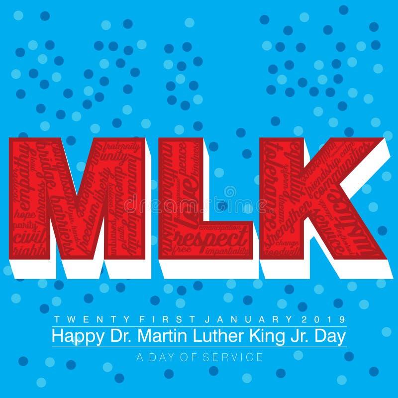 Typografidesign med ord på texten MLK i rött med en vit kvarterskugga royaltyfri illustrationer