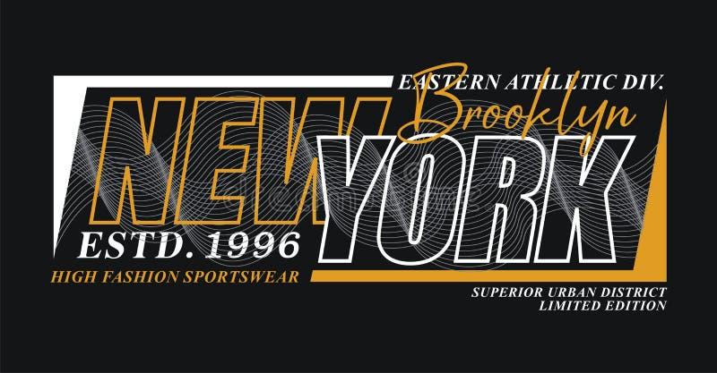 Typografidesignen New York Brooklyn, för t-skjorta diagram skrivar ut, vektorer stock illustrationer