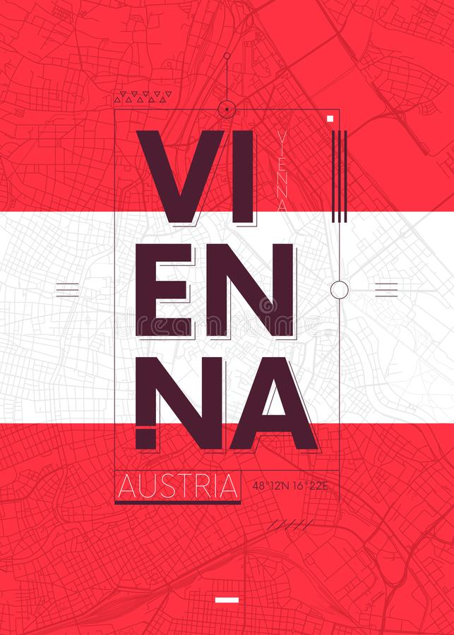 Typografidiagram färgar affischen med en översikt av Wien, vektorloppillustration vektor illustrationer