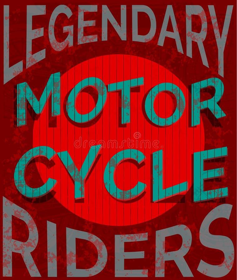 Typografidiagram och affisch för motorcykel tävlings- Skalle och cykel för gammal skola T-tröjadesign, stil för vektorillustratio stock illustrationer