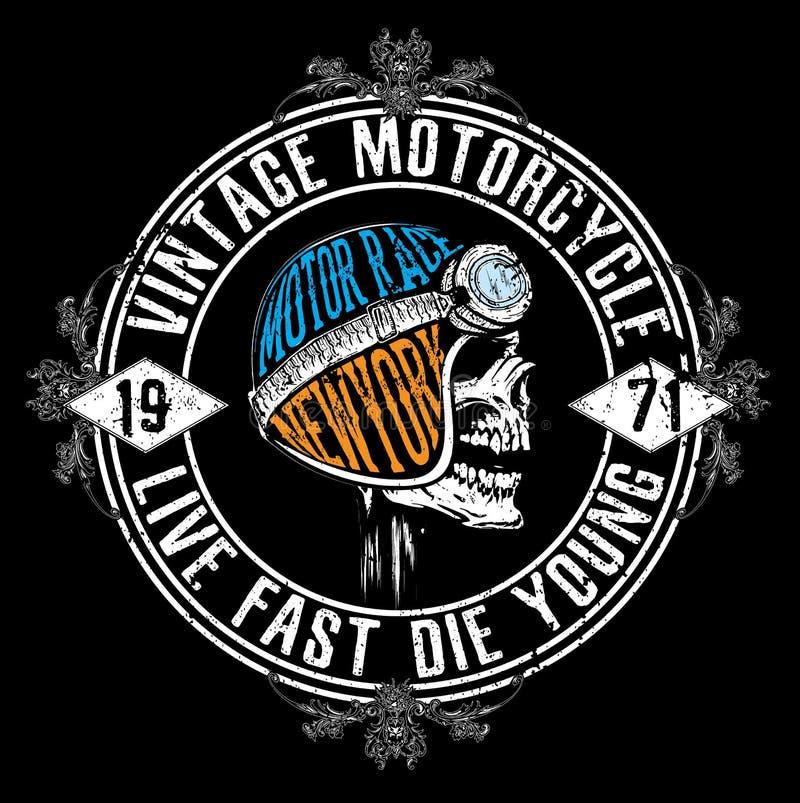 Typografidiagram och affisch för motorcykel tävlings- Skalle och gammalt vektor illustrationer
