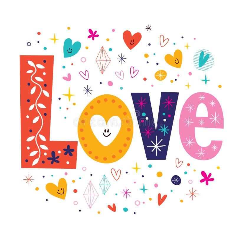 Typografie-Beschriftungstext der Wort-Liebe Retro- vektor abbildung